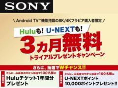 Hulu too! U-NEXT too! 3-month free trial gift campaign